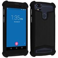 Coque bumper antichocs silicone/cuir noir pour smartphone Wiko Upulse Lite