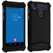 Coque bumper antichocs  silicone/cuir noir pour smartphone Wiko Highway Star