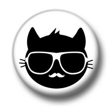 Cool Cat 1 Inch / 25mm Pin Button Badge Chic Glasses Moustache Hipster Cool Glam