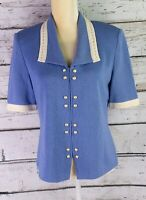 St. John Collection By Marie Gray Vintage Blue And Ivory Zippered Blouse