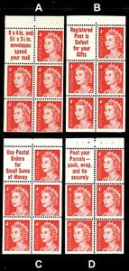1966 QE2 4c Helecon INK booklet pane  Superb MNH. Pick of 4 different  FREE POST