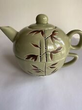 Green With Bamboo Design Teapot Set