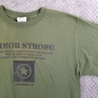 Armor Strong Religious Patriotic T-Shirt Military Army Green S/S Men Medium $40