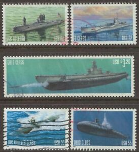Scott #3373-77 Used Set of 5, U.S. Navy Submarines