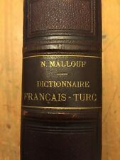 French-Turkish Dictionary 2nd Edition 1856 Nassif Mallouf Very Very Nice Cond!