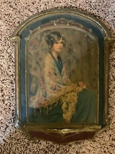 Antique Print Alice in her Blue Dress on Wood and Plaster