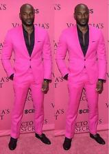 Shawl Lapel Groom Tuxedos Hot Pink Men Wedding Suits Party Prom Suit One Button