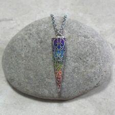 Seven Chakra Pendulum Pendant Necklace 7 Chakra Jewelry Antique Silver