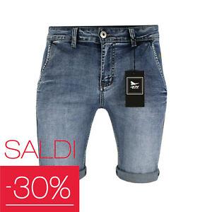 Pantalone uomo di jeans corto bermuda slim fit elasticizzato pantaloncino RDV