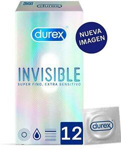 Nuevo Durex Preservativos Invisible Extra Fino Extra Sensitivo 12 condones