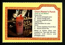 Recipe postcard Beverage Alcohol drink liquor, Court Planter's Punch New Orleans