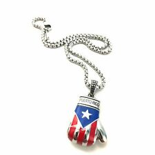 Puerto Rican Boxing Glove with 24inch Rounded Box Chain