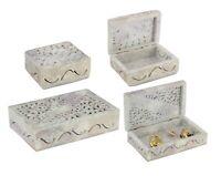 Soapstone Jewellery Trinket Box Handmade Carved Keepsake Storage Organiser Gift