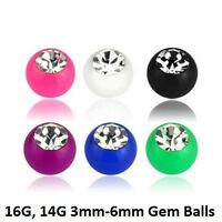 5pcs. 16g,14g~3mm to 6mm Solid Color Acrylic with Clear CZ Replacement Gem Balls