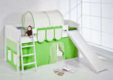 lit avec toboggan -landi/R vert beige -Kiefer BLANC -AVEC rideau