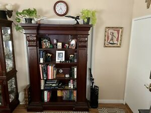 Traditional Bookcase in Cherry Wood, 15 Shelves