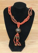 Red & Brown Tones Wood Bead Style Women's Collectible Faux Fashion Necklace