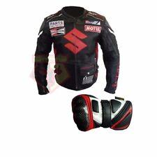 SUZUKI 4269 BLACK MOTORBIKE MOTORCYCLE COWHIDE LEATHER JACKET AND GLOVES