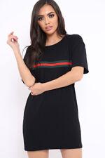 Womens Ladies Striped Front Oversized Short Sleeve Short Mini T Shirt Top Dress