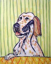 English Setter dog art Print poster modern folk 13x19 Jschmetz cell phone