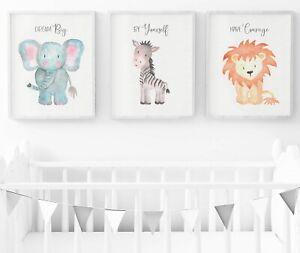 Safari Animals Nursery Prints, Set Of 3, Safari Nursery Wall Art, Nursery Decor