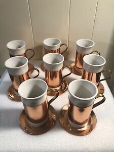 Set of 8 VintageCopperS/Porcelain Irish Coffee Cups (6oz) and Copper Saucers