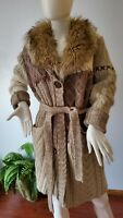 Chico's cable knit Sweater Duster cardigan Wool Cashmere Faux Fur Collar size 1