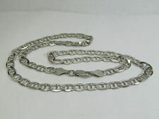 "Sterling Silver Italian 18"" Flat Mariner Chain Necklace 14.7 Grams"