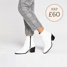 Ex River Island White Heeled Western Ankle Boots Size 3 - 8 RRP £60