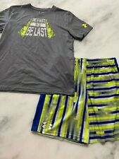Boys under Armour outfit Shorts Yellow gray Shirt Yxl 16 Very nice see others