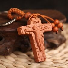 Lucky Spiritual Jesus Christ Bless Jewelry Wood Carving Buckle Key Tag Keychain