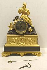 Francese Empire Dorato a fuoco Orologio da camino A 1860 con pendolo und Chiave