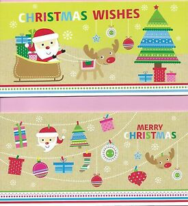 Christmas Cards Slim Pack of 10 Cards 2 Cute Designs with White Envelopes (tree)