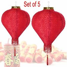 "14"" (Set of 5) Red Good Fortune (Fu) Oriental Chinese Red Fu Paper Lantern"