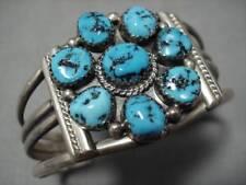 Superlative Vintage Navajo Turquoise Circle Native American Bracelet Old