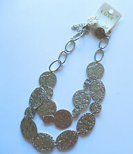 Necklace & Earring Fashion set-silver toned-circles ovals -textured-link chain