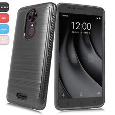 For T-Mobile REVVL Plus Shockproof Brushed Armor Hard Phone Case Cover