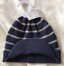 BNWT F&F Baby Boys Navy & Grey Striped Woollen Hat. Age Up To 3 Months