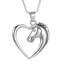 2016 Fashion Jewelry 925 Sterling Silver Horse in Heart Pendant Necklace WOMEN