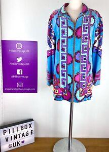 1960s Original Pucci Size 12 Designer Iconic Print Velvet Zip Front Jacket