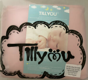 TILLYOU 3-Piece Padded Baby Crib Rail Cover Protector Set Safe Teething Pink