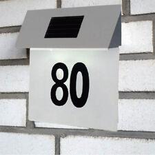 Solar Hausnummer Beleuchtung LED Hausnummernleuchte Beleuchtet Edelstahl weiss