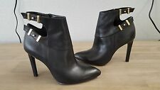 Guess Thora-M Fashion Ankle Boots Leather Pointy Toe Heel Black size 6.5M