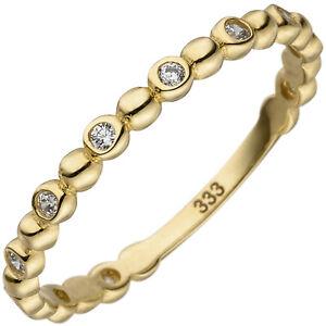 Damen Ring 333 Gold schmal Vorsteckring 8 Karat Gelbgold Zirkoniasteine