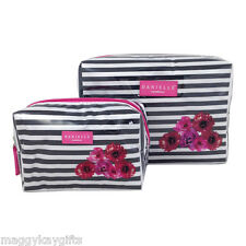 2 x Striped Floral Cosmetic Bags - Bag Wash Travel Make-Up Beauty Makeup CHEAP