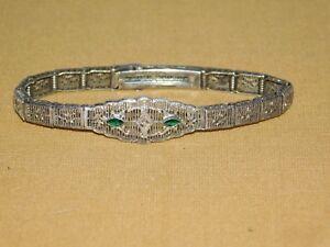 VINTAGE ESEMCO STERLING SILVER FILIGREE BRACELET 2 GREEN STONES PETITE DIAMOND