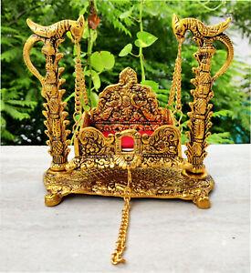 Metal Krishna I Lord Nand Laddu Gopal Swing Palna Krishna Jhula Golden colour US