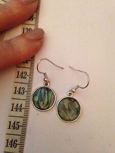 beautiful   dangle  earrings,   Abalone Shell (New Zealand Paua)  Silver plated