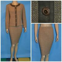 St John Collection Knits Brown Beige Jacket Skirt L 10 12 2pc Suit Buttons Suede