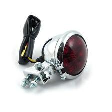 LUZ TRASERA Bates de LED Cromo, cristal rojo, Para Harley